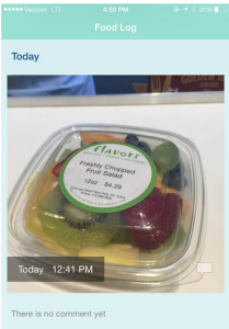 Photo of the Fruit Street visual food diary app.
